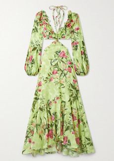 PatBO Cutout Ruffled Floral-print Jacquard Maxi Dress