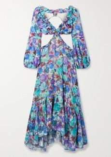 PatBO Cutout Ruffled Floral-print Jersey And Jacquard Maxi Dress
