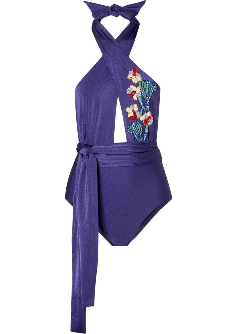 PatBO Embellished Halterneck Swimsuit