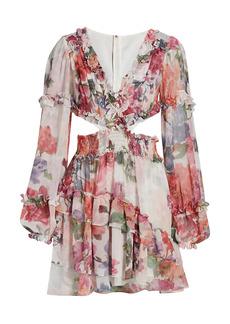 PatBO Floral-Print Chiffon Mini Dress