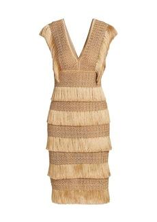 PatBO Fringe Midi Sheath Dress