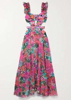 PatBO Gabi Ruffled Cutout Floral-print Stretch-jersey And Chiffon Maxi Dress