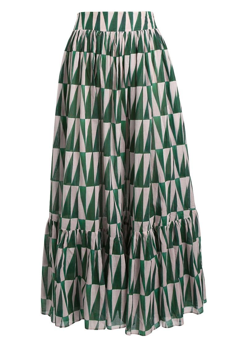 PatBO Geo Print Cotton Maxi Skirt