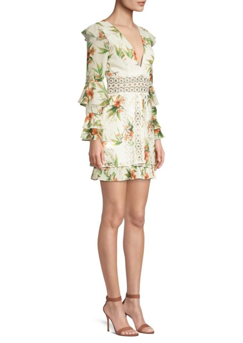 PatBO Lace Inset Floral Mini Dress
