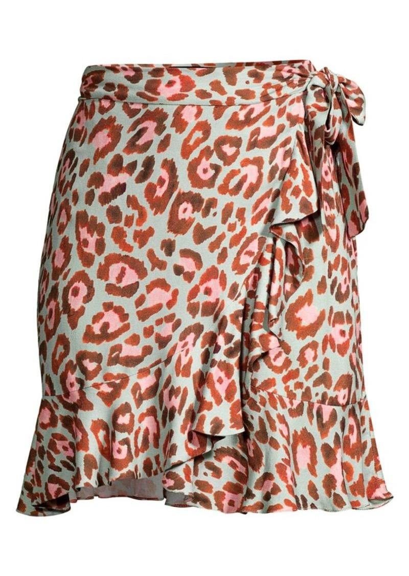 PatBO Leopard-Print Wrap Mini Skirt