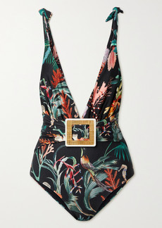 PatBO Oasis Belted Printed Swimsuit
