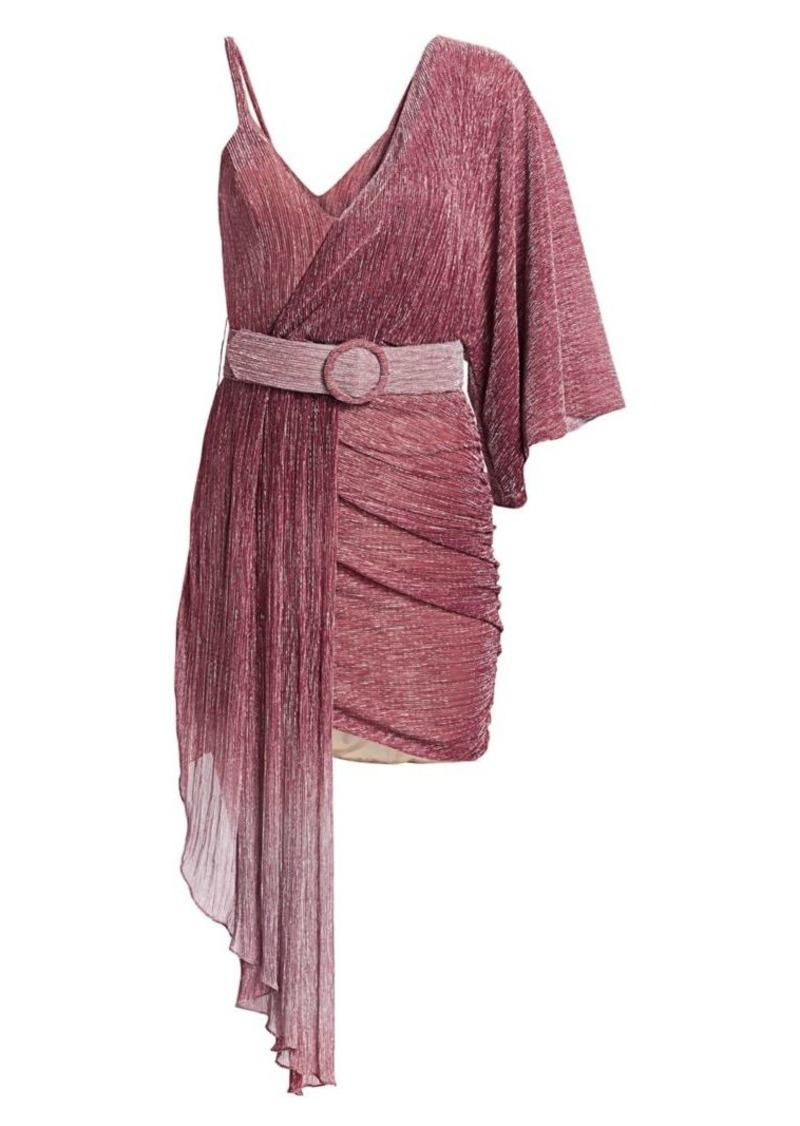 PatBO Ombre Lurex Asymmetrical Belted Mini Dress