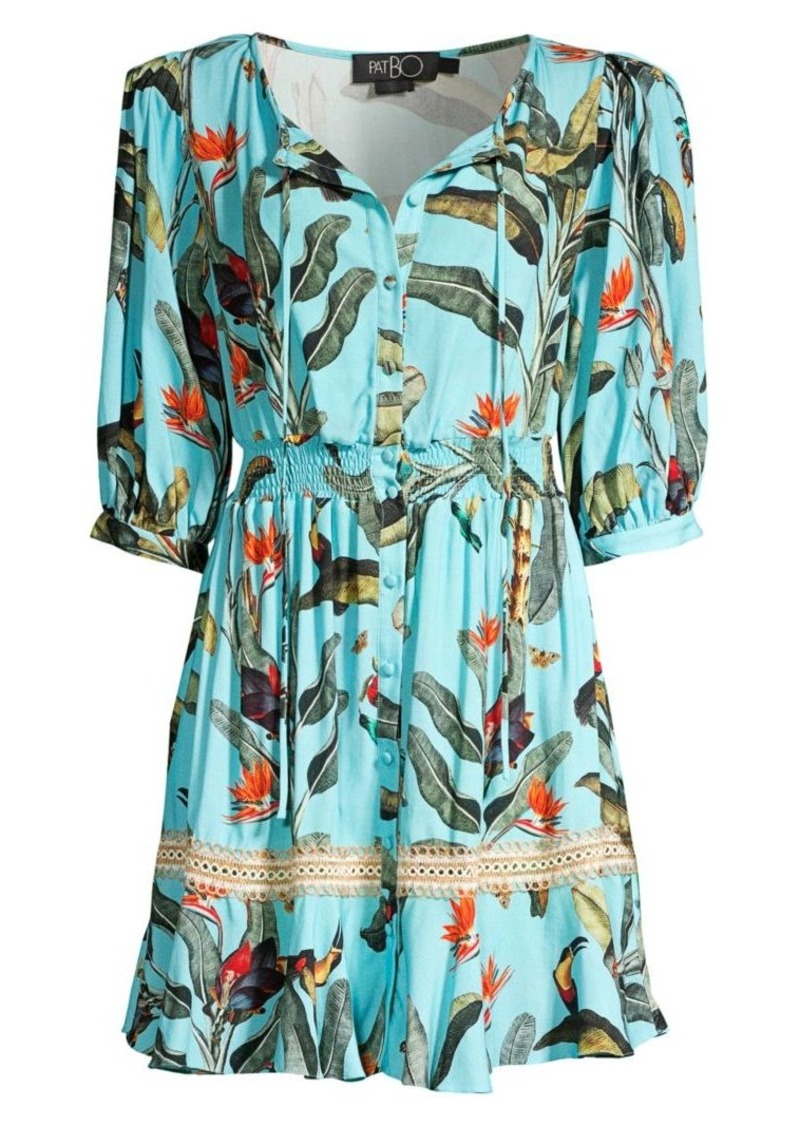 Padded Shoulder Tropical-Print Shirtdress