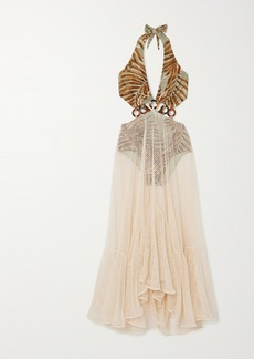 PatBO Palmeira Layered Cotton-blend Mesh And Printed Stretch-jersey Dress