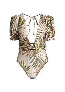 PatBO Palmeira Puff-Sleeve One-Piece Swimsuit