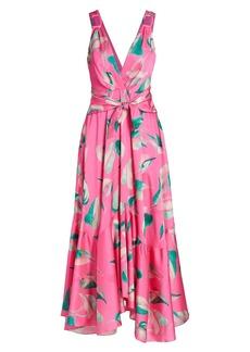 PatBO Pandola Printed Plunge Maxi Dress