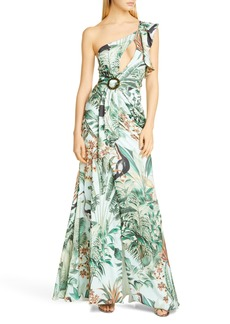 PatBO Eden One-Shoulder Cutout Gown