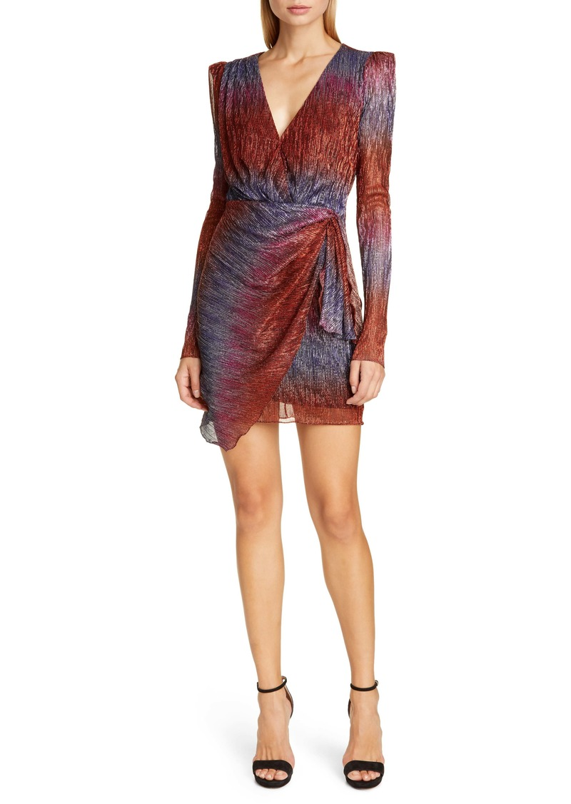 PatBO Faux Wrap Long Sleeve Cocktail Dress