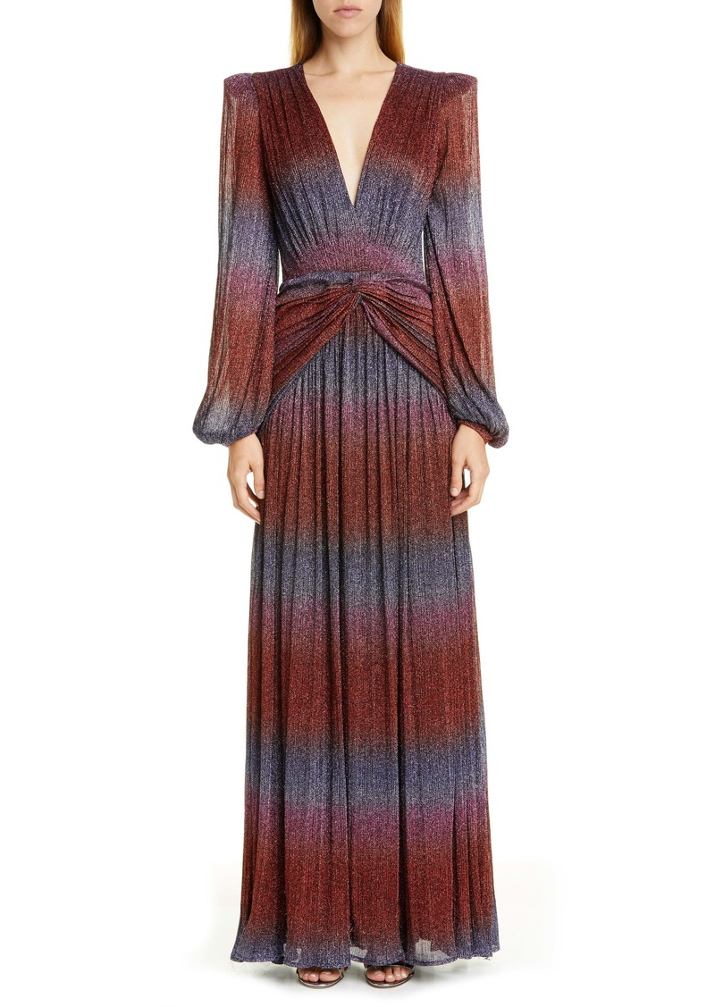 PatBO Rainbow Wrap Long Sleeve Gown