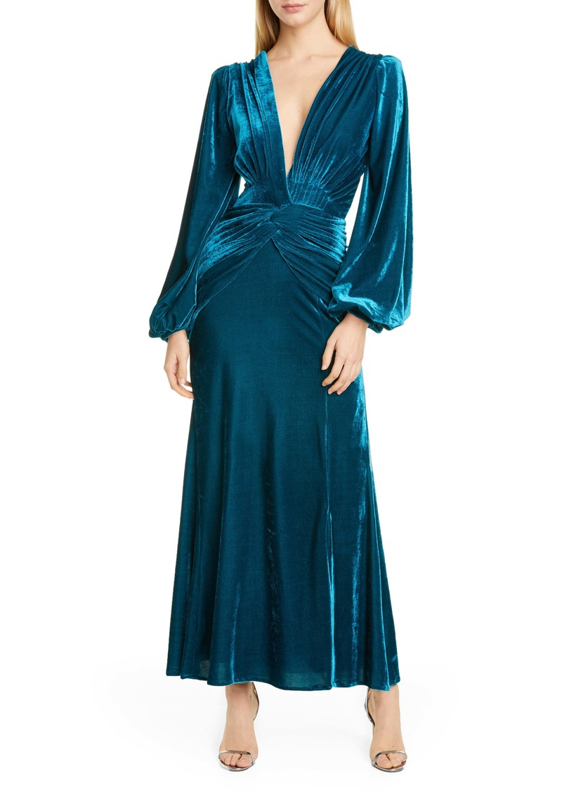 PatBO Long Sleeve Velvet Gown