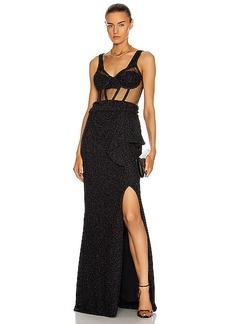 PatBO for FWRD Sleeveless Lurex Bustier Maxi Dress