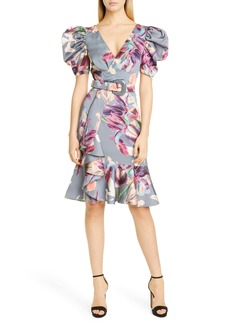 PatBO Grace Puff Sleeve Belted Cocktail Dress