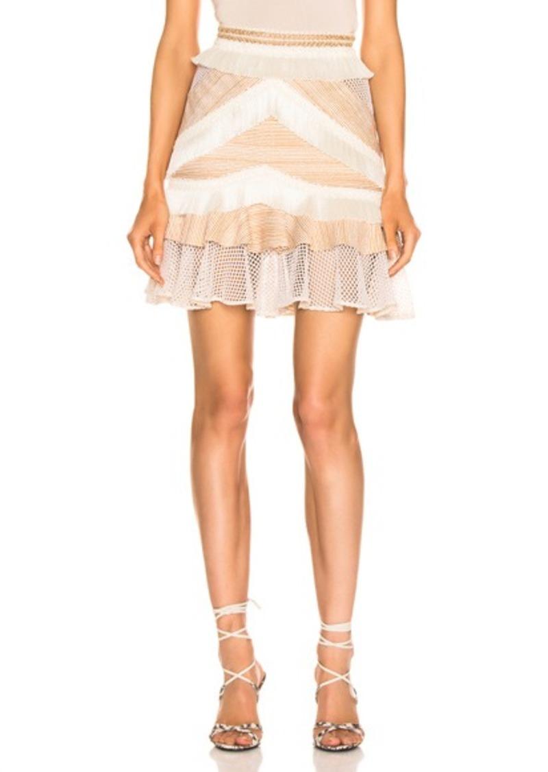 PatBO Mesh & Fringe Tiered Mini Skirt