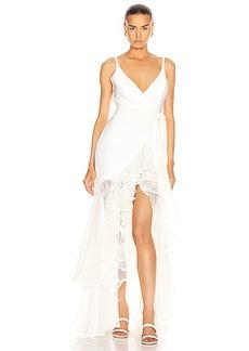 PatBO Mesh Trim Linen Maxi Dress
