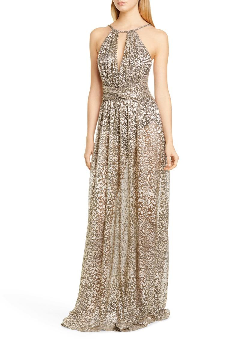 PatBO Metallic Leopard Halter Gown