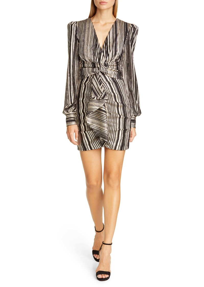 PatBO Metallic Stripe Long Sleeve Cocktail Minidress