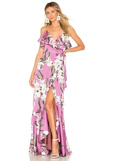 PatBO Orchid Print Wrap Maxi Dress