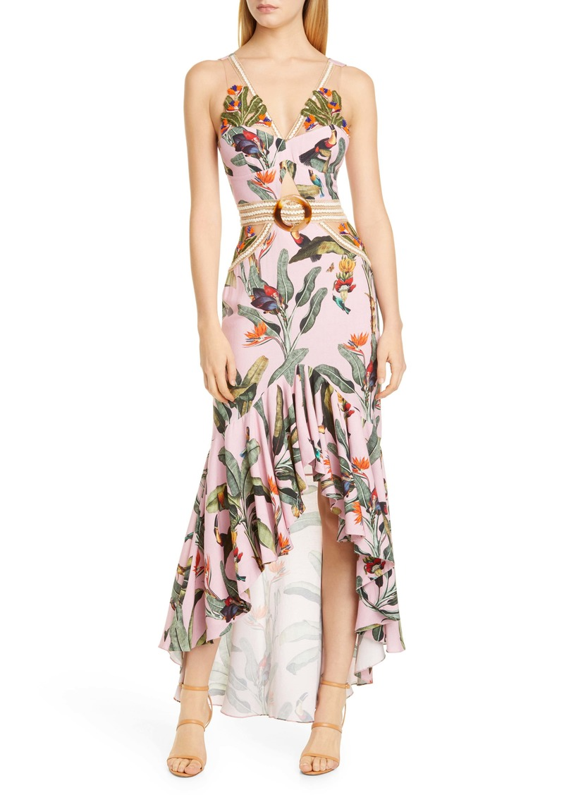 PatBO Tropical Cutout High/Low Gown