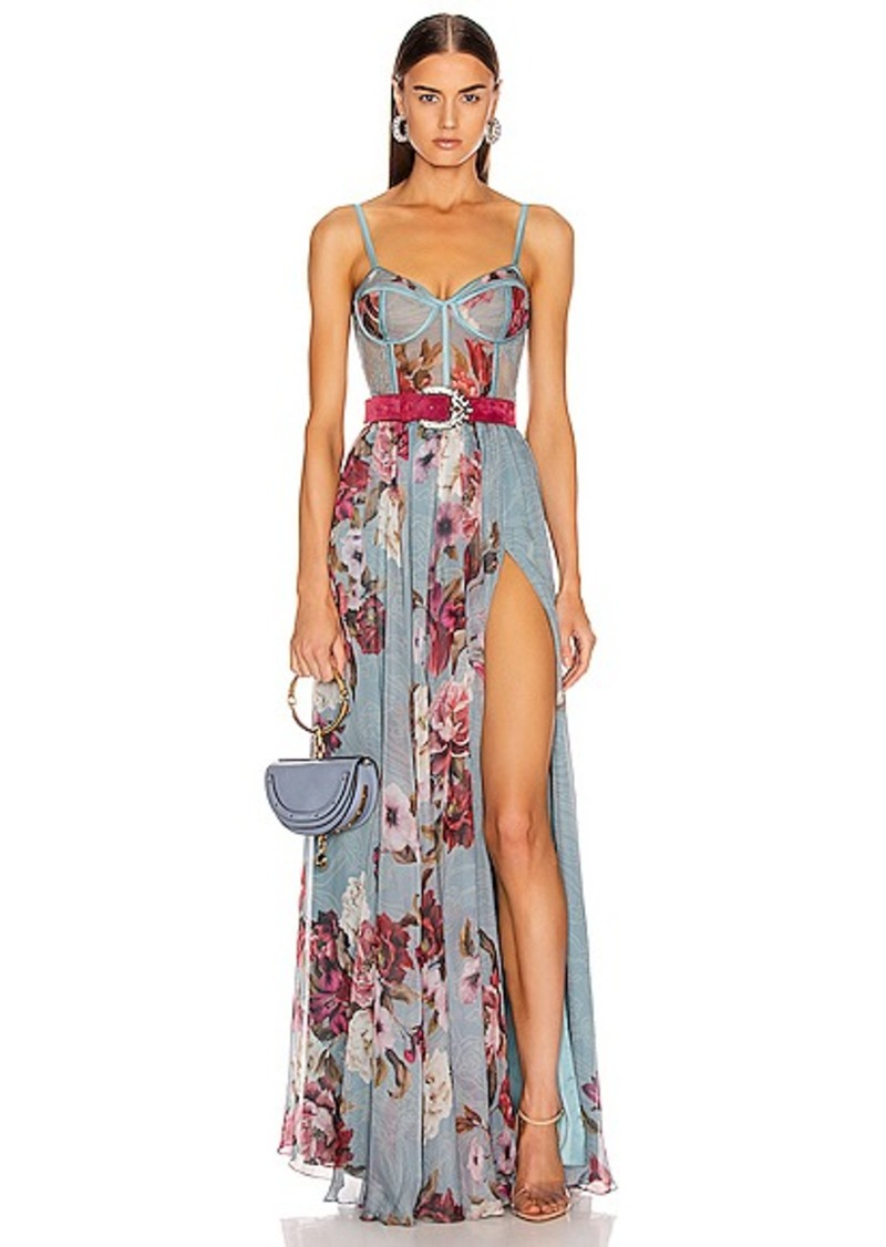 PatBO Peony Print Bustier Maxi Dress With Belt