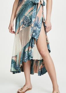PatBO Sunset Stripe Mesh Wrap Skirt