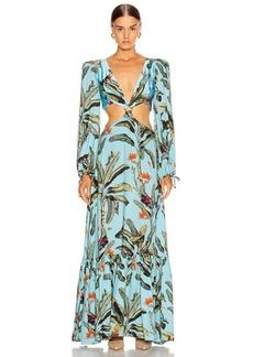 PatBO Tropical Print Cutout Maxi Dress