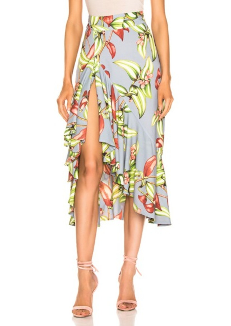 PatBO Zebrina Print Ruffle Midi Skirt