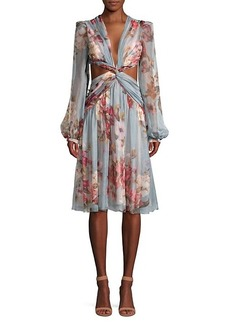 PatBO Peony Print Cutout Midi Dress