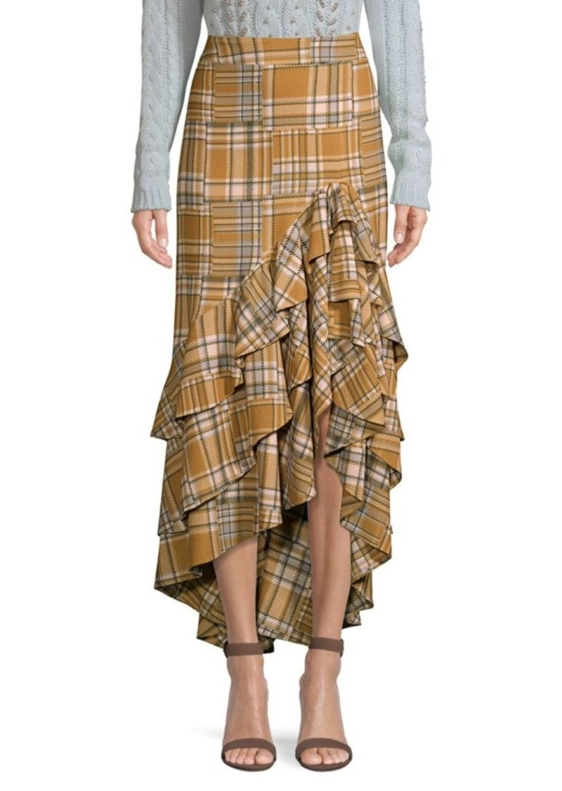 PatBO Plaid Ruffled Midi Skirt