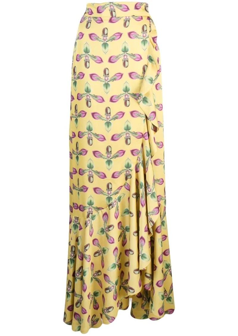PatBO printed maxi wrap skirt