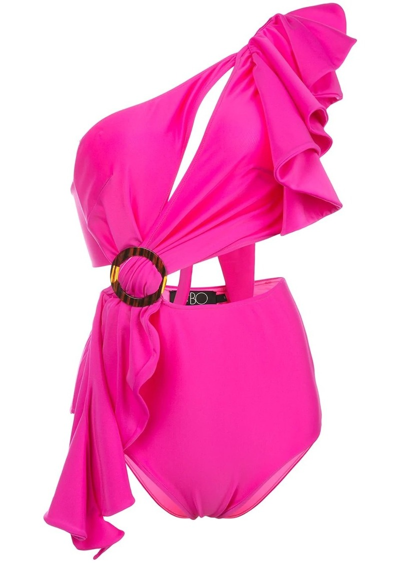 ruffle-trimmed one-shoulder swimsuit