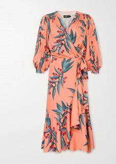 PatBO Ruffled Floral-print Crepe Midi Wrap Dress
