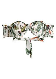 PatBO Shirred Tropical-Print Bikini Top