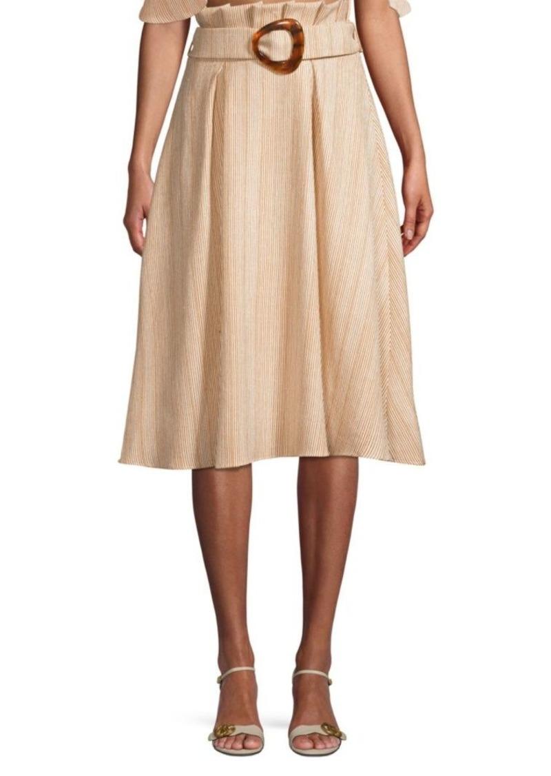 PatBO Striped Belted Midi Skirt