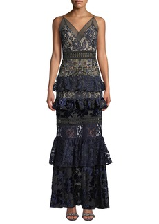 PatBO Tiered Lace and Velvet Floral-Beaded Gown