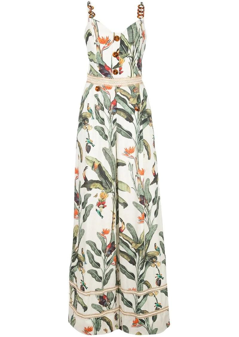 PatBO tropical-print decorative-button maxi dress