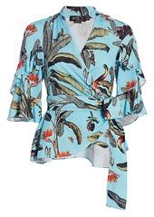 PatBO Tropical-Print Wrap Top