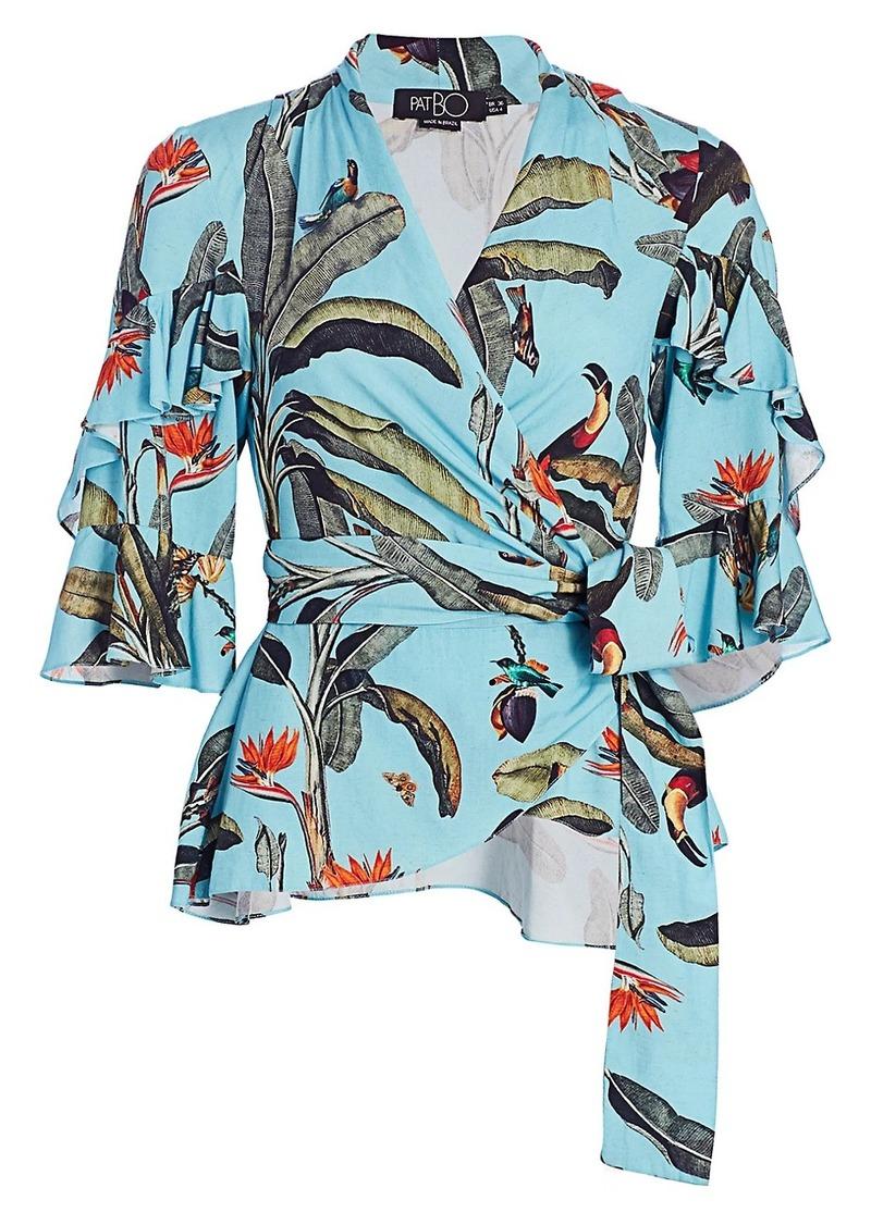 Tropical-Print Wrap Top