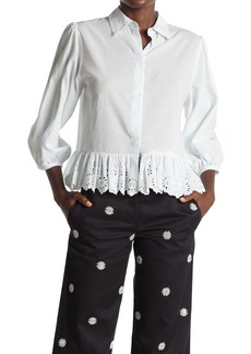 Paul & Joe Antonia Embroidered Eyelet Ruffle 3/4 Sleeve Blouse