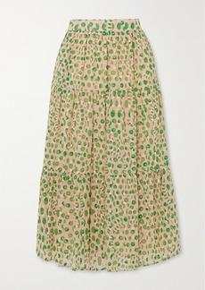 Paul & Joe Basilic Tiered Floral-print Cotton Midi Skirt