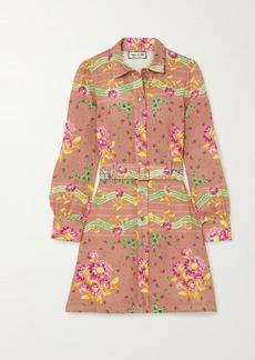 Paul & Joe Belted Floral-print Linen Mini Shirt Dress