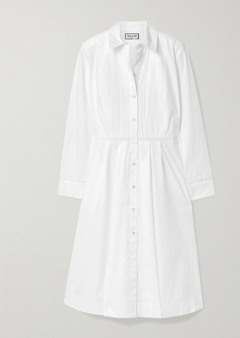 Paul & Joe Broderie Anglaise-trimmed Stretch-cotton Poplin Dress
