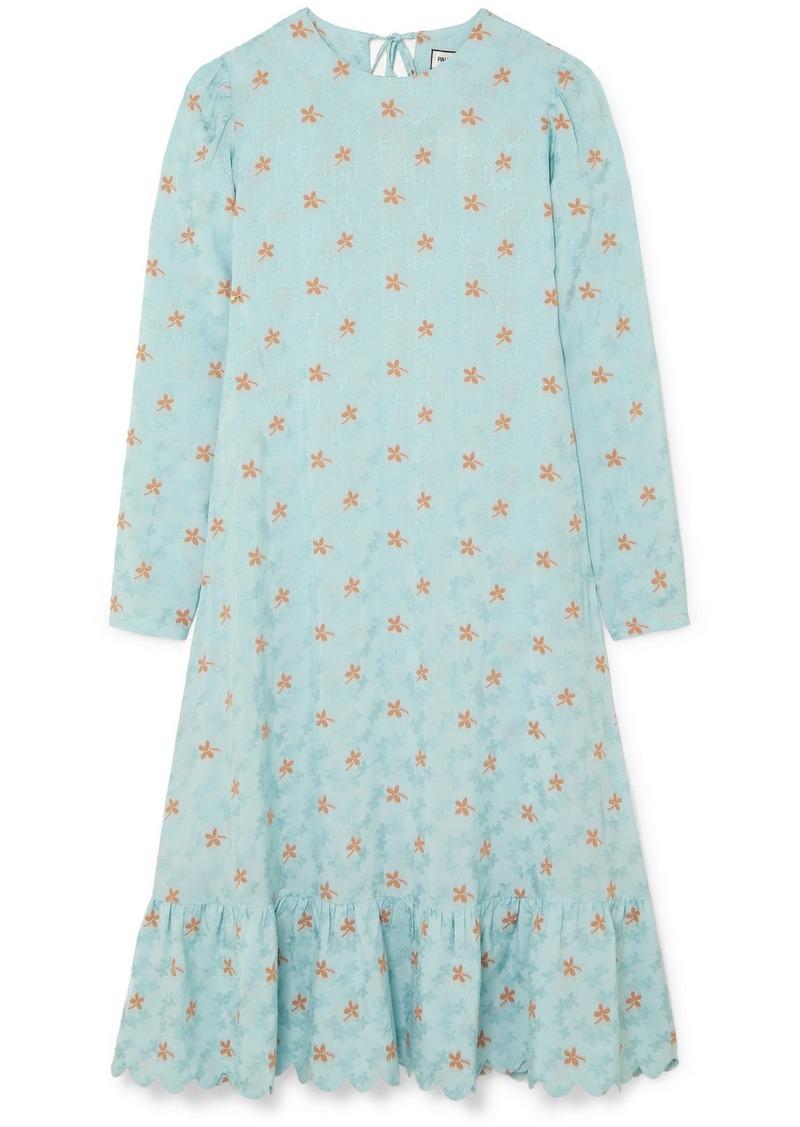 Paul & Joe Contine Tiered Floral-jacquard Midi Dress