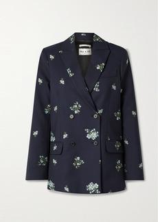Paul & Joe Costa Rica Double-breasted Cotton-blend Floral-jacquard Blazer