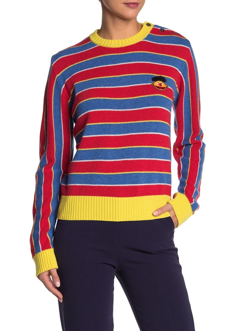 Paul & Joe Ernie Embroidered Striped Wool Blend Sweater