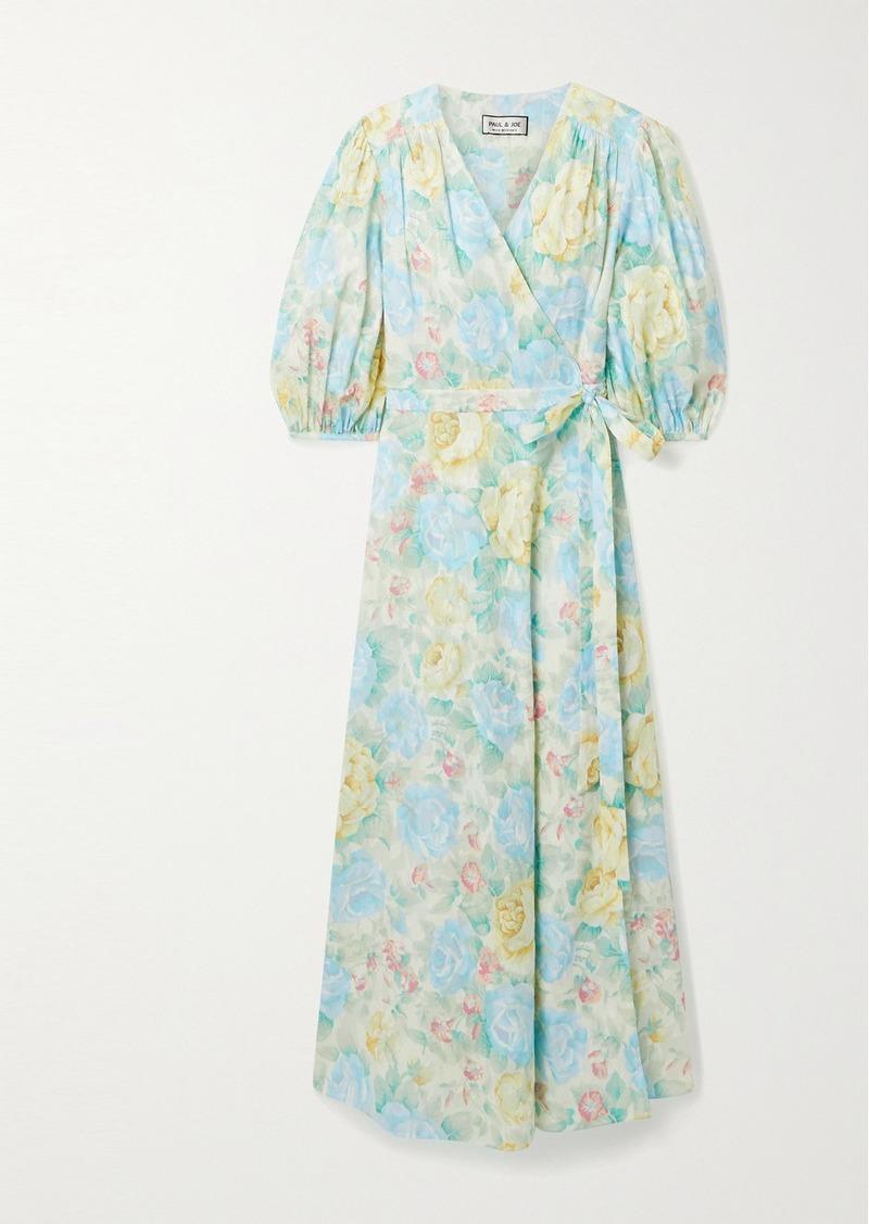 Paul & Joe Floral-print Fil Coupé Cotton Midi Wrap Dress
